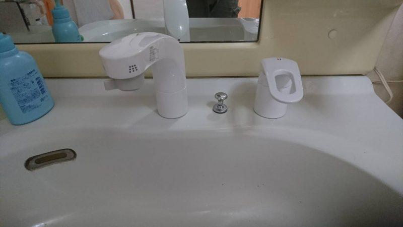 洗面化粧台水栓取り替え